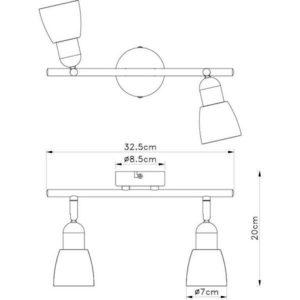 FE401-2 spot lampa 2xE14 FORMA CORMEL