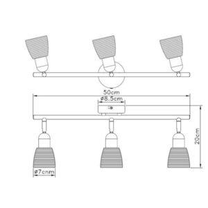 FE401-3 spot lampa 3xE14 FORMA CORMEL