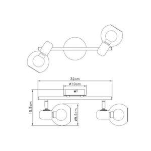 FE402-2 Spot lampa 2xE14 FORMA CORMEL